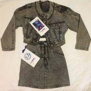 VTG* 1985 L.A. GEAR Acid Washed Denim Jacket Skirt